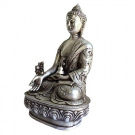 Statue Bouddha Assis Argent Decoration Zen