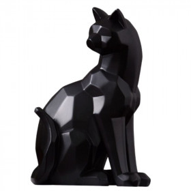 Statue Chat Origami Noir