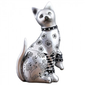 Statuette Chat Argent Assis